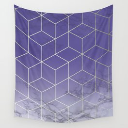 Geometric Marble Ultraviolet Purple Gold Wall Tapestry