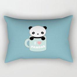 Kawaii I Love Pandas Rectangular Pillow