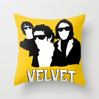 velvet underground Throw Pillows featuring VELVET UNDERGROUND Y by zzglam