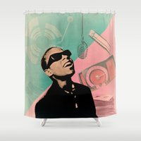 stevie nicks Shower Curtains featuring Stevie by Liall Linz