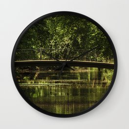 Small bridge in a city garden, trees, lake, pond, St. Petersburg (Russia) (2018-7SPB57) Wall Clock
