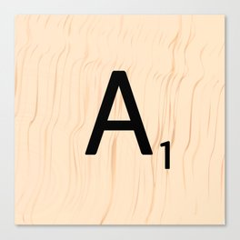 Letter A Scrabble Art Canvas Print