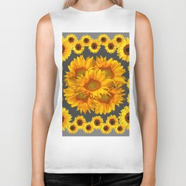 Ornate Charcoal Grey Sunflowers Pattern Biker Tank