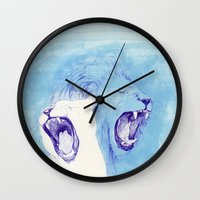 lions Wall Clocks featuring Two Lions by Fatma