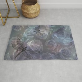 Floral background pattern with Dragonflies - by Greta Darets Rug