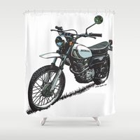 honda Shower Curtains featuring Honda XL250 Vintage Motorcycle Artwork by Ernie Young