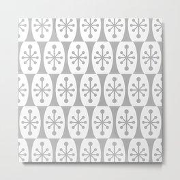Mid Century Modern Atomic Fusion Pattern Grey Metal Print