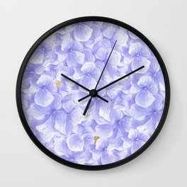 Elegant lavender white faux gold watercolor hydrangea flowers Wall Clock