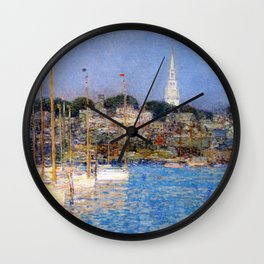 Newport Harbor, Newport, Rhode Island - Cat Boats by Frederick Childe Hassam Wall Clock