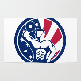 American Fitness Gym USA Flag Icon Rug