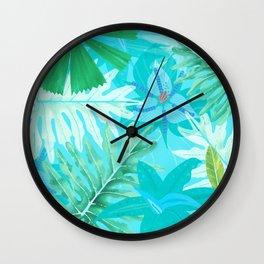 My blue abstract Aloha Tropical Flower Jungle Garden Wall Clock