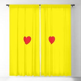 Red heart in yellow Blackout Curtain