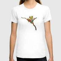 palestine T-shirts featuring Tree Frog Playing Acoustic Guitar with Flag of Palestine by Jeff Bartels