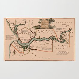 Map Of Gambia 1745 Rug