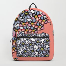 Over Flowers: Blue + Pink Backpack