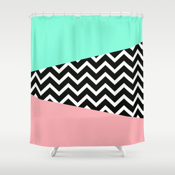 Pastel Chevron Tiffany Rose 80\'s Pattern Shower Curtain by ...