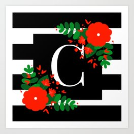 C - Initial on Black and White with Red Flowers Art Print