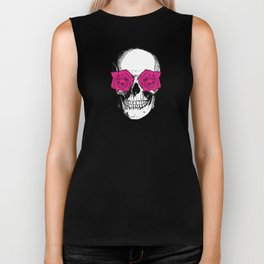 Skull and Roses | Yellow and Pink Biker Tank