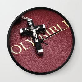 Holy Bible with crucifix on wooden table Wall Clock