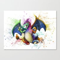 charizard Canvas Prints featuring Charizard by Kelsey Yurkow