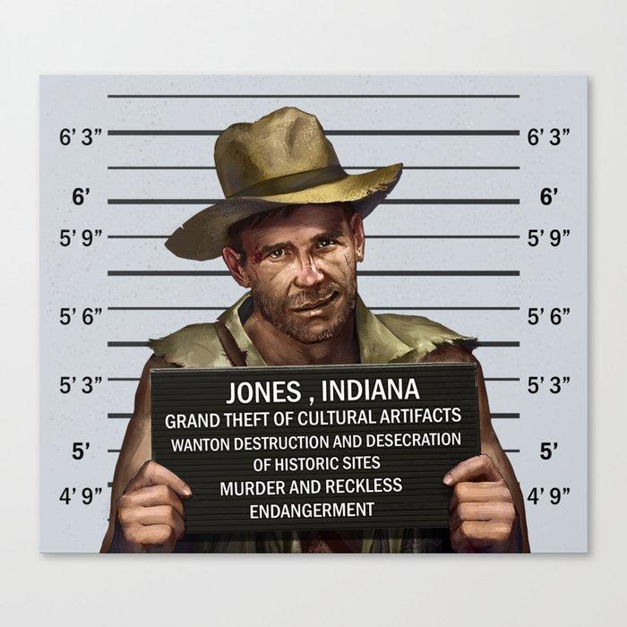 Indiana Jones Mugshot Canvas Print