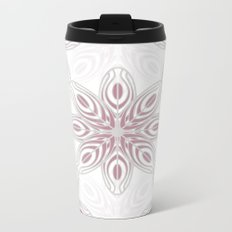 Feathers, Geometric Pattern in Mauve and Grey Metal Travel Mug