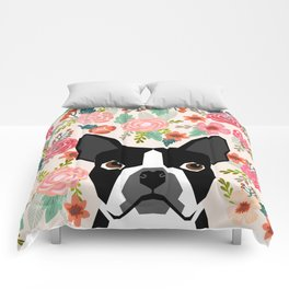 Boston Terrier florals flowers boho cute black and white boston terrier puppy dog pet portraits  Comforters