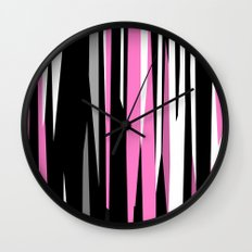 Pink White Gray and Black abstract Wall Clock