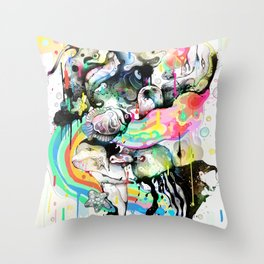 Ink Fight Colors Throw Pillow