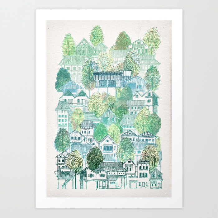 Jungle Village Art Print