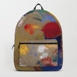 "Odilon Redon ""Flowers on a grey background (Fleurs sur fond gris)"" Backpack"
