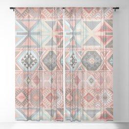 Aztec Artisan Tribal in Pink Sheer Curtain
