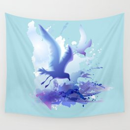 Watercolor sea ocean waves seascape with realistic birds, gulls, abstract water. Realism. Art. Wall Tapestry