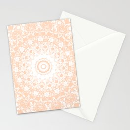Pale Pumpkin and White Mandala Stationery Cards