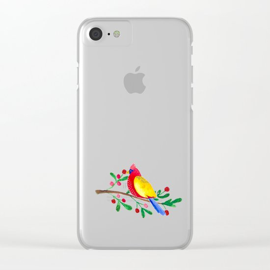 Winterbird - Bird Watercolor Illustration Clear iPhone Case
