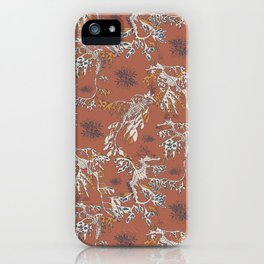 Water Swingers in Beach Sand ( leafy sea dragon pattern in coral ) iPhone Case