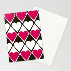 Abstract print with hearts Valentines Day love Stationery Cards