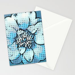 Altered Art Blue Dot Flower Special Digital Effect Stationery Cards