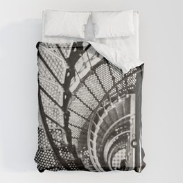 Spiral staircase black and white Comforters
