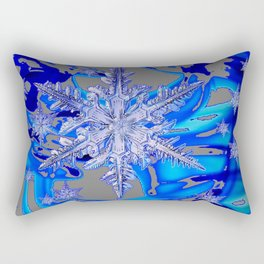 MODERN ROYAL BLUE WINTER SNOWFLAKES GREY ART Rectangular Pillow