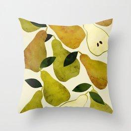 mediterranean pears watercolor Throw Pillow