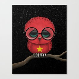 Baby Owl with Glasses and Vietnamese Flag Canvas Print