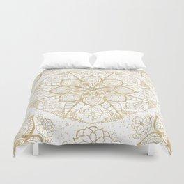Stylish boho hand drawn golden mandala Duvet Cover