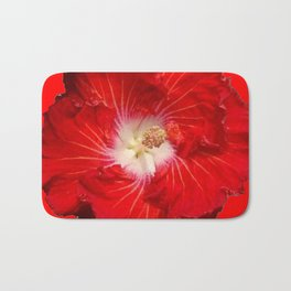 DECORATIVE RED & WHITE HIBISCUS FLOWER Bath Mat