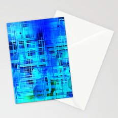 Vibrant Blue and Turquoise Line Abstract Stationery Cards