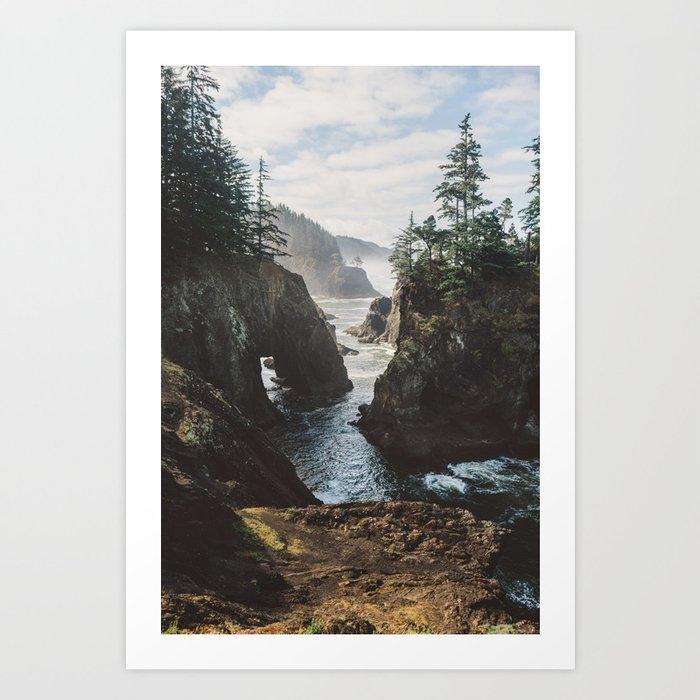 Misty Oregon Coast Art Print