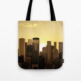 Sunrise-sunset city panorama Tote Bag