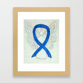 Blue Awareness Ribbon Angel Art Painting Framed Art Print