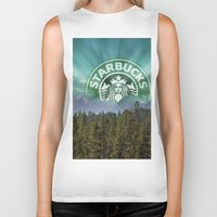 starbucks Biker Tanks featuring Starbucks Is Life by Tumblweave