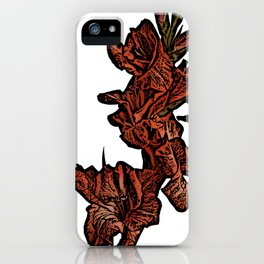 Red Gladioli Woodcut iPhone Case